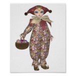 Pierrot Clown Doll with Easter Eggs Poster