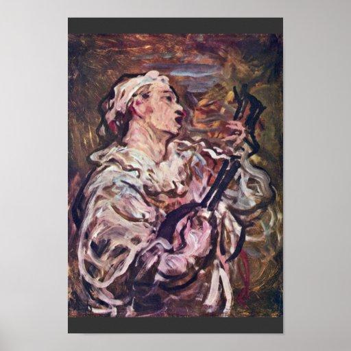 Pierrot con la guitarra de Daumier Honoré Póster