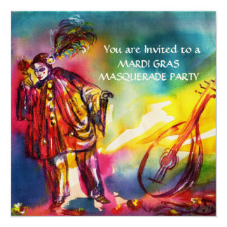 PIERROT ,Masquerade Party Gold Metallic 5.25x5.25 Square Paper Invitation Card