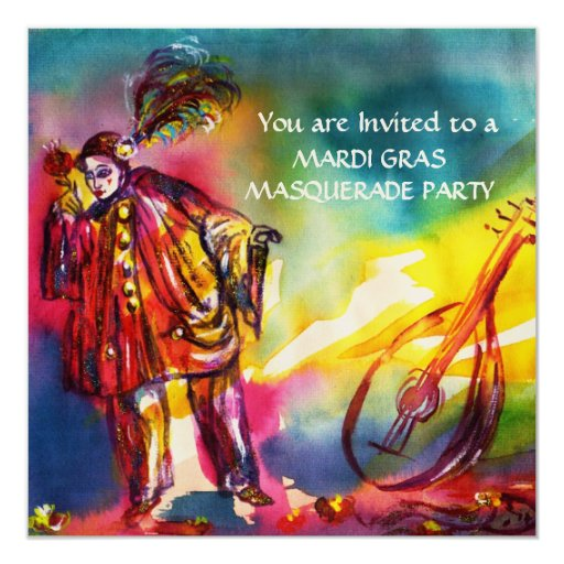PIERROT ,Masquerade Party Gold Metallic Invitations
