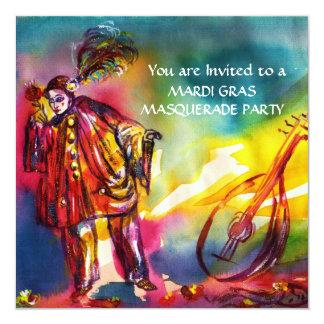 PIERROT ,Masquerade Party 5.25x5.25 Square Paper Invitation Card