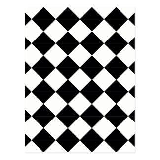 Pierrot plaid black and white postcard