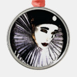 Pierrot Round Metal Christmas Ornament