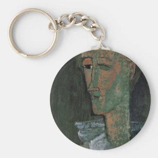 Pierrot (Self Portrait as Pierrot) by Amedeo Modig Basic Round Button Keychain