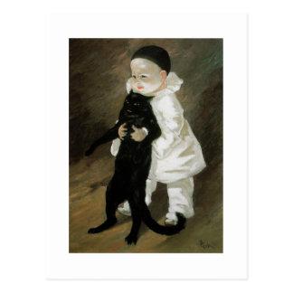 Pierrot with Cat, Alexandre Steinlen Postcard