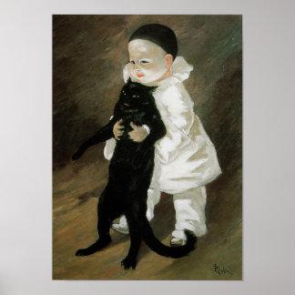 Pierrot with Cat, Alexandre Steinlen Poster