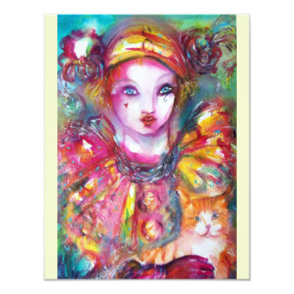 PIERROT WITH CAT / Mardi Gras Masquerade Party Card