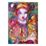 Pierrot with Cat  / Venetian Masquerade Masks Card
