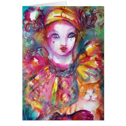 Pierrot with Cat  / Venetian Masquerade Masks Card