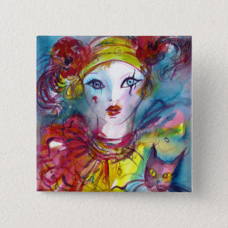 PIERROT WITH CAT / Venetian Masquerade Masks Pinback Button