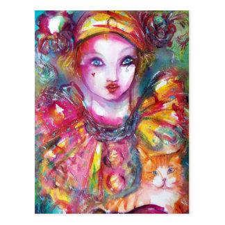 Pierrot with Cat / Venetian Masquerade Masks Postcard