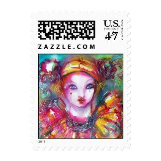 PIERROT WITH CAT / Venetian Masquerade Masks Stamp
