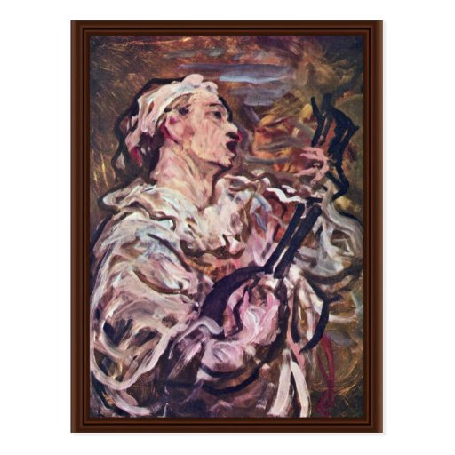 Pierrot With Guitar By Daumier Honoré Post Card