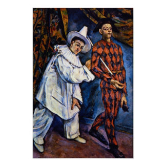 Pierrot y Harlequin, carnaval de Paul Cezanne Póster