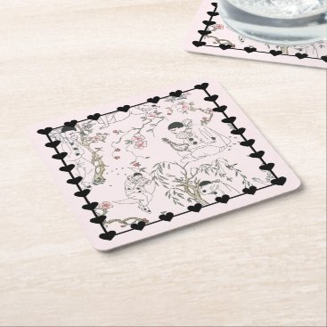 Beach Themed Pierrot's Dream Square Paper Coaster