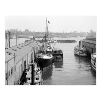 Piers Along South Street, NYC: 1908 Postcard