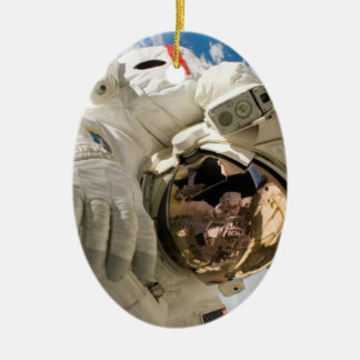 Piers Seller Spacewalk Double-Sided Oval Ceramic Christmas Ornament