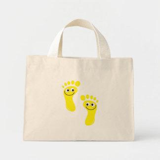 Pies amarillos felices bolsa de tela pequeña