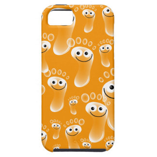 Pies anaranjados felices iPhone 5 Case-Mate protectores