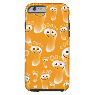 Pies anaranjados felices funda para iPhone 6 tough