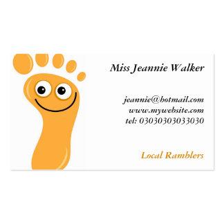 Pies anaranjados felices tarjetas de visita