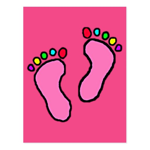 Pies coloridos de dibujo animado postal