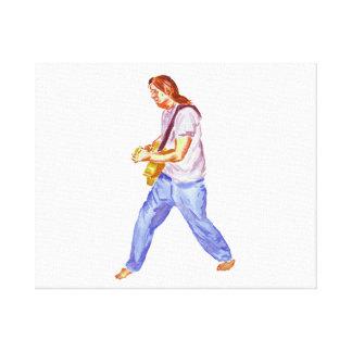 pies de los vaqueros del jugador de la guitarra ac impresiones en lienzo estiradas