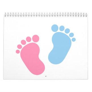 Pies del bebé calendario de pared