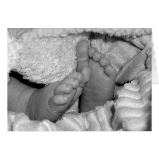 Pies del bebé (tarjetas de nota de B&W) Tarjeta Pequeña