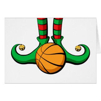 Pies del duende del navidad del baloncesto tarjeta