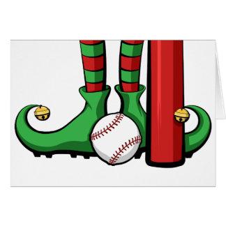Pies del duende del navidad del béisbol tarjeta de felicitación