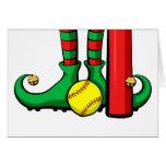 Pies del duende del navidad del softball tarjeta de felicitación