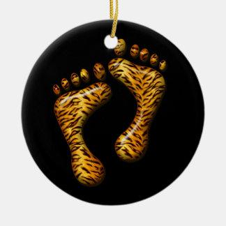 Pies del tigre adorno navideño redondo de cerámica