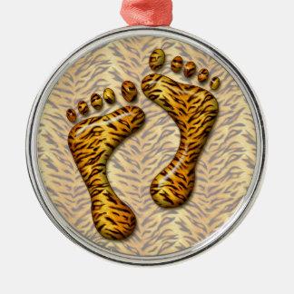 Pies del tigre adorno navideño redondo de metal