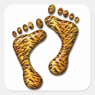 Pies del tigre pegatina cuadrada
