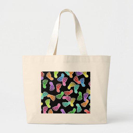 Pies felices de papel pintado bolsa de mano