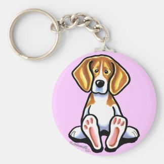 Pies grandes de Apagado-Correo Art™ del beagle Llaveros Personalizados