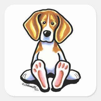 Pies grandes de Apagado-Correo Art™ del beagle Pegatina Cuadrada