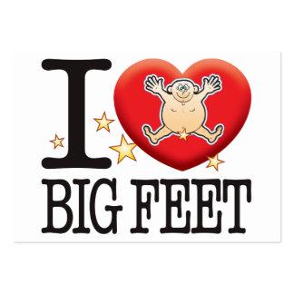 Pies grandes de hombre del amor tarjetas de visita grandes