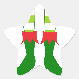 Pies lindos del duende del navidad pegatina en forma de estrella
