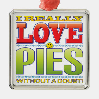 Pies Love Face Silver-Colored Square Decoration