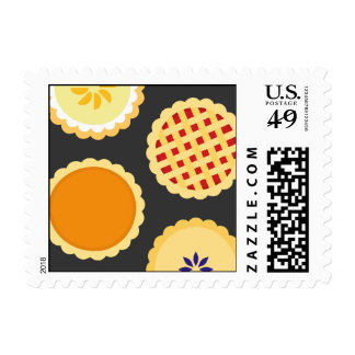 Pies Thanksgiving Desserts Small Postages Stamp