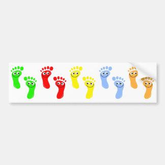 Pies verdes felices pies rojos felices amarillo pegatina de parachoque