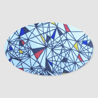 Piet geométrico Modrian inspiró el modelo Pegatinas Ovaladas