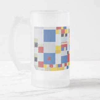 piet mondrian and victory.boogie-woogie frosted glass beer mug