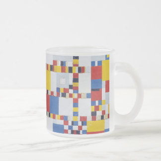 piet mondrian and victory.boogie-woogie frosted glass coffee mug