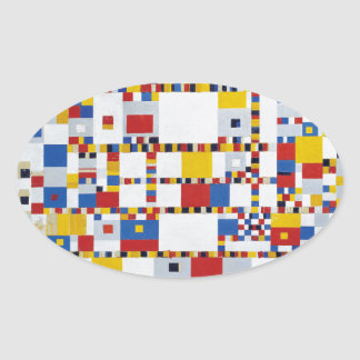 piet mondrian and victory.boogie-woogie oval sticker