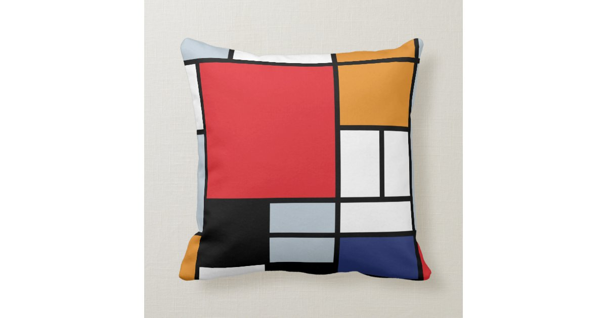 Piet Mondrian - Composition with Large Red Plane Throw Pillow Zazzle