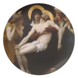 pieta Jesus Christ and Virgin Mary Melamine Plate