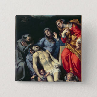 Pieta with St. Francis and St. Mary Magdalene, c.1 Pinback Button
